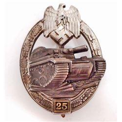 GERMAN NAZI ARMY SILVER 25 TANK ASSAULT BADGE