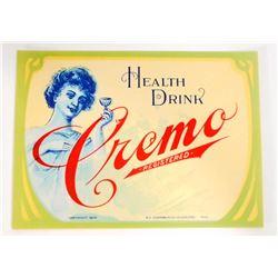 VINTAGE HEALTH DRINK CREMO ADVERTISING BOTTLE LABEL