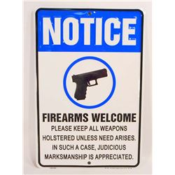 FIREARMS WELCOME EMBOSSED FUNNY TIN SIGN