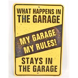 MY GARAGE RULES EMBOSSED FUNNY TIN SIGN