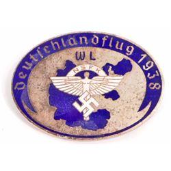 GERMAN NAZI NSFK ENAMELED GLIDER BADGE