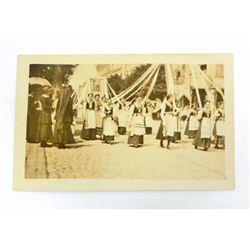 VINTAGE RPPC REAL PHOTO POSTCARD OF MAYPOLE LADIES DANCING
