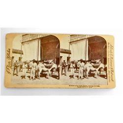 VINTAGE PUBLIC SQUARE, SANTIAGO DE CUBA PHOTO STERO CARD