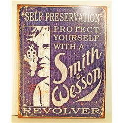 SMITH & WESSON REVOLVER ADVERTISING METAL SIGN