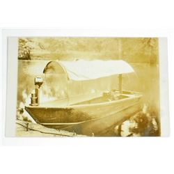 VINTAGE RPPC REAL PHOTO POSTCARD OF AN ON-BOARD GAS BOAT