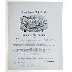 1853 ANTIQUE SEVENTH REGIMENTAL ORDERS NO.4