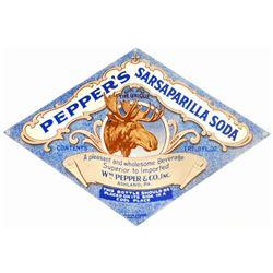 VINTAGE PEPPERS SARSAPARILLA SODA ADVERTISING BOTTLE LABEL