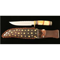 Custom Knife with Antler Inlaid Handle