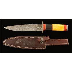 "13"" Damascus Fixed Blade Knife"
