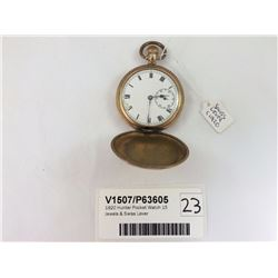 1920 Hunter Pocket Watch 15 Jewels & Swiss Lever