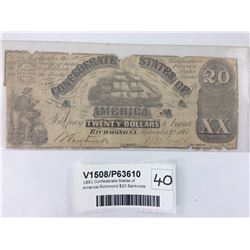 1861 Confederate States of America Richmond $20 Banknote