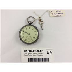 1878 Sterling Silver Rotherham Fusee Pocket Watch - Key Wind