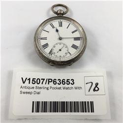 Antique Sterling Pocket Watch With Sweep Dial