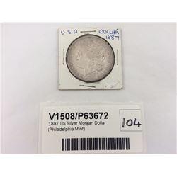 1887 US Silver Morgan Dollar (Philadelphia Mint)