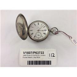 1885 Silver G Croft & Co. London Pocket Watch - Key Wind