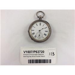 Antique Chronometer Balance Sterling Key Wind Pocket Watch
