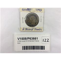 1792 Louis XVI 6 Deniers France Coin