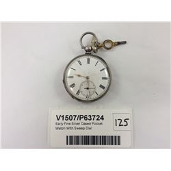 Early Fine Silver Cased Pocket Watch With Sweep Dial