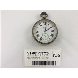 Yesteryear Escort Open Faced Pocket Watch With Sweep Dial