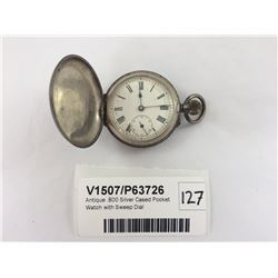 Antique .800 Silver Cased Pocket Watch with Sweep Dial