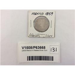 1859 Mexico 4 Reales Silver Coin