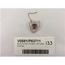 9ct Gold Heart Pendant  with Large Amethyst