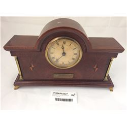 Early Mantel Clock with Fine Multi Wood Detailing