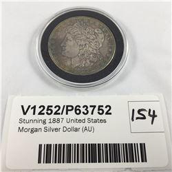 Stunning 1887 United States Morgan Silver Dollar (AU)