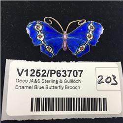 Deco JA&S Sterling & Guilloch Enamel Blue Butterfly Brooch