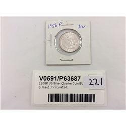 1958P US Silver Quarter Coin BU - Brilliant Uncirculated