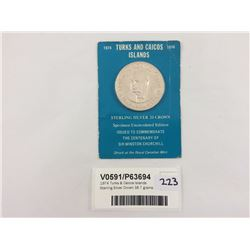 1974 Turks & Caicos Islands Sterling Silver Crown 38.7 grams
