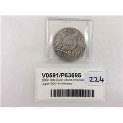 1969 .999 Silver Round American Legion 50th Anniversary
