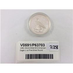 1981 World Wide Mint American Eagle 1 oz Fine Silver Round