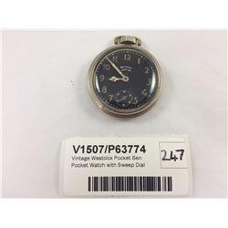 Vintage Westclox Pocket Ben Pocket Watch with Sweep Dial