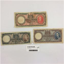 Three Rare Fiji 1950-51 Banknotes Inc. One Pound