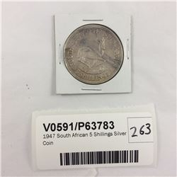 1947 South African 5 Shillings Silver Coin