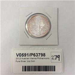 2013 Austrian Vienna Phillharmonic Pure Silver 1oz Coin