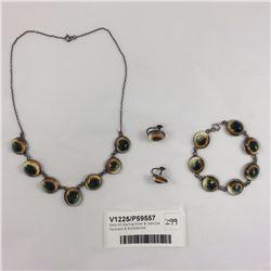 Early NZ Sterling Silver & Cats Eye Necklace & Bracelet Set