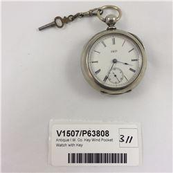 Antique I.W. Co. Key Wind Pocket Watch with Key