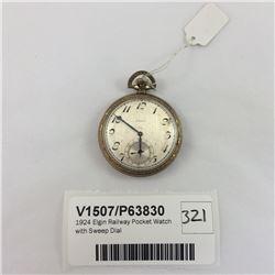 1924 Elgin Railway Pocket Watch with Sweep Dial