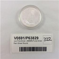 1oz Fine Silver (.9999% Pure) Silver Fern Silver Round
