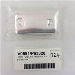 .999% Pure Silver Perth Mint 10oz Bar of Silver