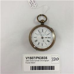 1880 Swiss Cylinder Chronograph Pocket Watch
