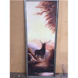 Retro Original Oil Painting of Stag 40cm x 104cm