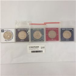 Group of Five New Zealand Uncirculated Dollars Inc. 1983 Royal Visit