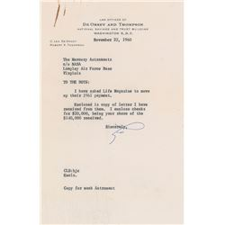 Mercury Astronauts LIFE Magazine Payment Letter