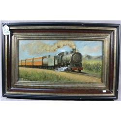 ORIGINAL OIL ON CANVAS: TRAIN