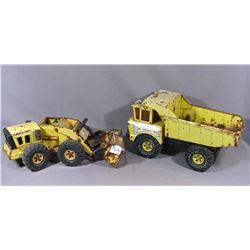 TWO VINTAGE TONKA TURBO DIESEL DUMP TRUCK AND FRONT END