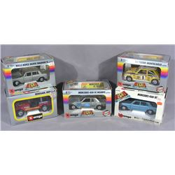 FIVE BURAGO DIE CAST METAL MODEL 1:24 SCALE CARS