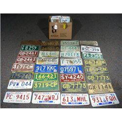 GROUP OF OVER 40 VINTAGE LICENSE PLATES